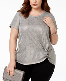 I.N.C. Plus Size Twist Front Top, Created for Macy's