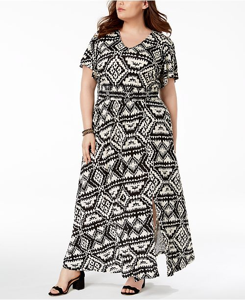 I.N.C. Plus Size Printed Maxi Dress, Created for Macy\'s