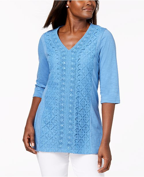 for Created Crochet Petite Lace Top JM Macy's Riviera Collection XB6AxwY