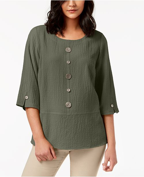 e5d50c546924fc JM Collection Mixed-Button Crinkle Top, Created for Macy's & Reviews ...