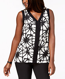 JM Collection Printed Textured Top, Created for Macy's