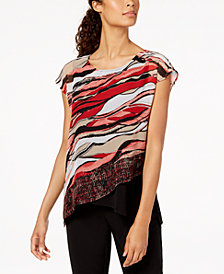 JM Collection Petite Printed Layered-Look Chiffon Top, Created for Macy's