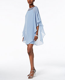 Xscape Embellished Chiffon Cape-Overlay Dress, Petite Sizes