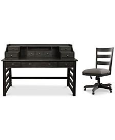 Ridgeway Home Office Furniture, 2-Pc. Set (Leg Desk With Hutch & Wood Back Chair)
