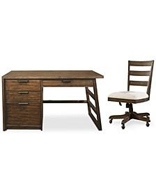 Ridgeway Home Office 2-Pc. Set (Single Pedestal Desk & Wood Back Chair)