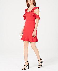 Rachel Zoe Delia Ruffled Cold-Shoulder Dress