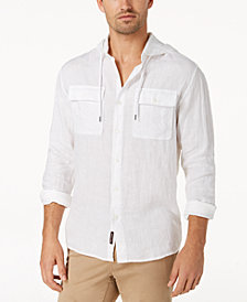 Michael Kors Men's Crossdye Hooded Linen Shirt