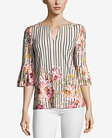 ECI Striped Floral-Print Top