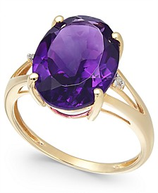Amethyst (5 ct. t.w.) and Diamond Accent Oval Ring in 14k Gold (Also Available in Mystic Topaz, Blue Topaz, & Prasolite)