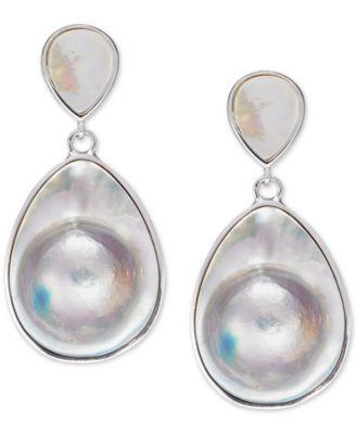 Mabé Blister Pearl (24 x 18mm, 10 x 8mm) Drop Earrings in Sterling Silver