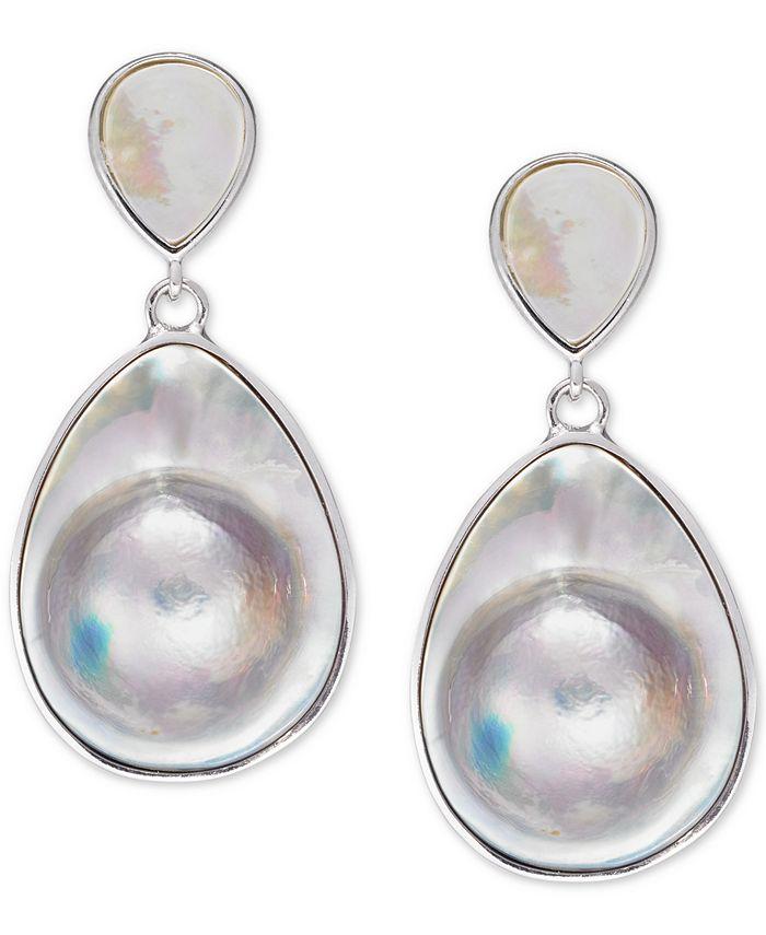 Macy's - Mabé Blister Pearl (24 x 18mm, 10 x 8mm) Drop Earrings in Sterling Silver