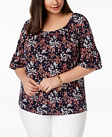 MICHAEL Michael Kors Plus Size Scattered Blossoms Printed Peasant Top