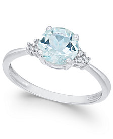 14k White Gold Aquamarine (1 ct. t.w.) and Diamond Accent Ring