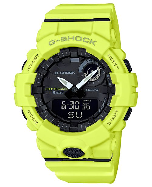 G-Shock Men's Analog-Digital Step Tracker Yellow Resin Strap Watch 48.6mm