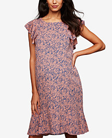 A Pea In The Pod Maternity Ruffled Printed Dress