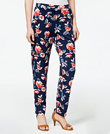 Monteau Petite Floral-Print Pants, Created for Macy's