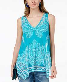 I.N.C. Printed Handkerchief-Hem Top, Created for Macy's