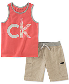 Calvin Klein Little Boys 2-Pc. Graphic-Print Tank Top & Short Set