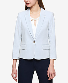 Tommy Hilfiger One-Button Seersucker Blazer