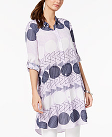 Alfani Printed Convertible Tunic Shirt, Created for Macy's