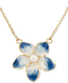 "Cultured Freshwater Pearl (3mm) Flower Pendant Necklace in 14k Gold, 16"" + 1"" extender"