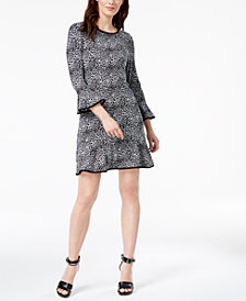 MICHAEL Michael Kors Mixed-Print Bell-Sleeve Dress, Regular & Petite