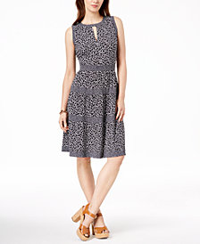 MICHAEL Michael Kors Leopard-Print Keyhole Dress, Regular & Petite