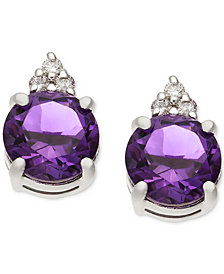 Amethyst (1-5/8 ct. t.w.) & Diamond Accent Stud Earrings in 14k White Gold