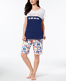 HUE® Graphic-Print Pajama Top & Printed Bermuda Shorts
