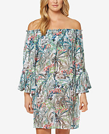 Jessica Simpson Printed Off-The-Shoulder Bell-Sleeve Dress Cover-Up