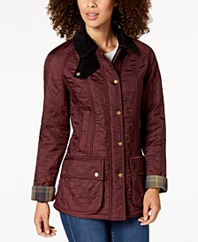 Beadnell Polarquilt Plaid-Trim Utility Coat