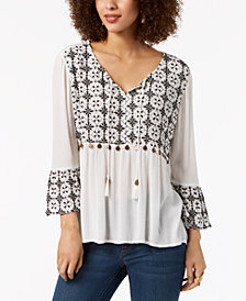 Style & Co Cotton Coin-Embellished Peasant Top, Created for Macy's