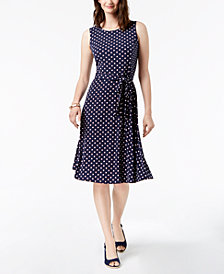 Charter Club Petite Printed Belted Midi Dress, Created for Macy's