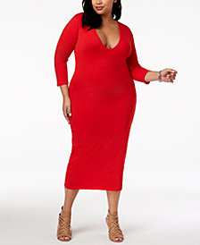 Rebdolls Plus Size Body Con Midi Dress from The Workshop at Macy's