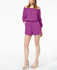Bar III Off-The-Shoulder Elastic-Waist Romper, Created for Macy's