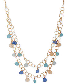 "lonna & lilly Gold-Tone Stone Double-Layer 32"" Statement Necklace"
