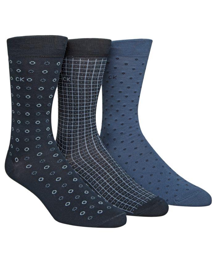 Calvin Klein Men's 3-Pk. Patterned Crew Socks & Reviews - Underwear & Socks - Men - Macy's