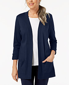 Karen Scott Cotton Button-Tab Cozy Cardigan, Created for Macy's