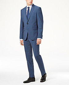 HUGO Men's Modern-Fit Medium Blue Plaid Wool Suit