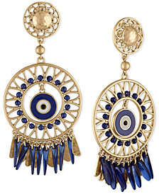 RACHEL Rachel Roy Gold-Tone Bead & Drop Circular Clip-On Chandelier Earrings
