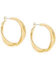 Steve Madden Gold-Tone Textured Twist Hoop Earrings