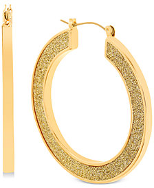 Steve Madden Gold-Tone Glitter Hoop Earrings