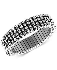 Steve Madden Silver-Tone Crystal Stretch Bracelet