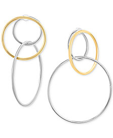 Steve Madden Two-Tone Interlocking Hoop Drop Earrings