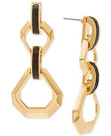 Steve Madden Gold-Tone & Leather Geometric Drop Earrings