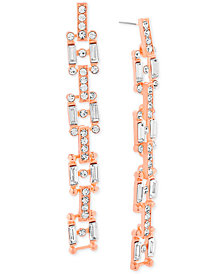 Steve Madden Rose Gold-Tone Crystal Square Link Drop Earrings