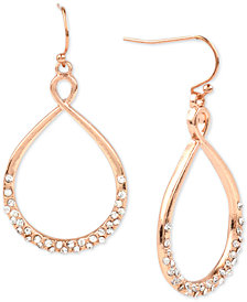 Charter Club Rose Gold-Tone Pavé Hoop Drop Earrings, Created for Macy's