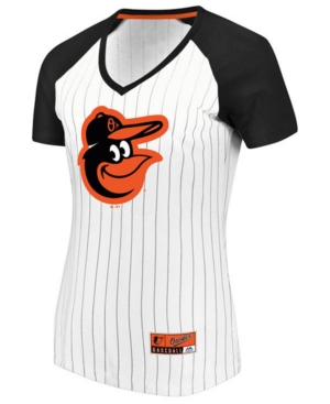 Majestic Women's Baltimore Orioles Every Aspect Pinstripe T-Shirt