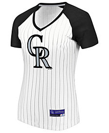 Majestic Women's Colorado Rockies Every Aspect Pinstripe T-Shirt