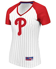 Majestic Women's Philadelphia Phillies Every Aspect Pinstripe T-Shirt